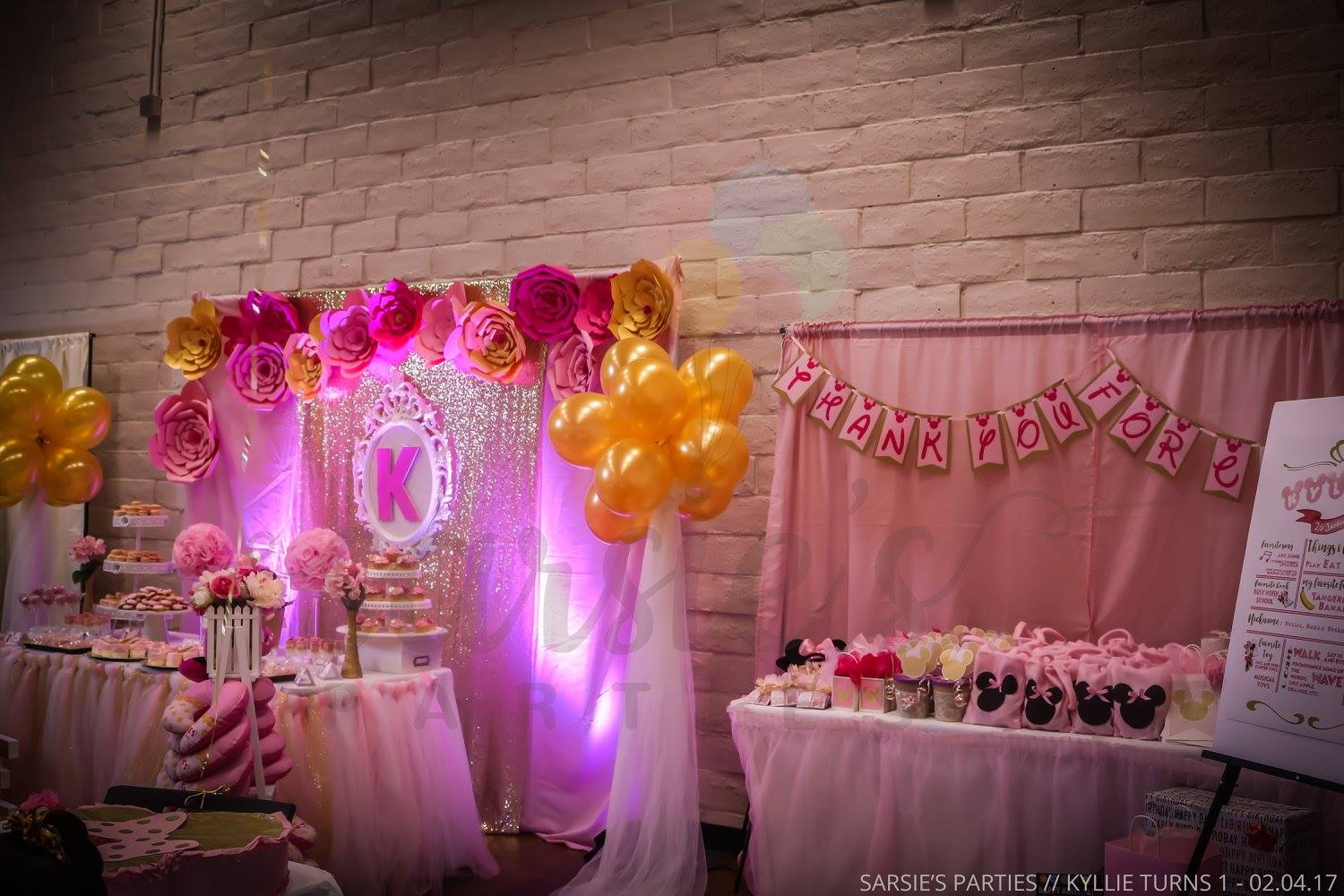 Pink Gold Minnie Mouse Birthday Party Sarsie S Parties