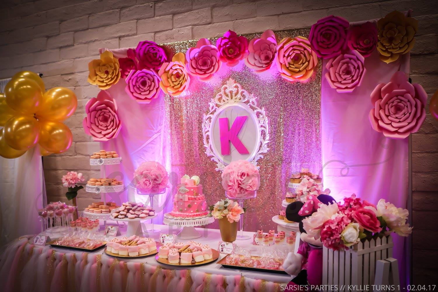 Pink Gold Minnie Mouse Birthday Party